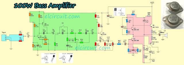 100W Bass Power Amplifier MJE340 MJE350
