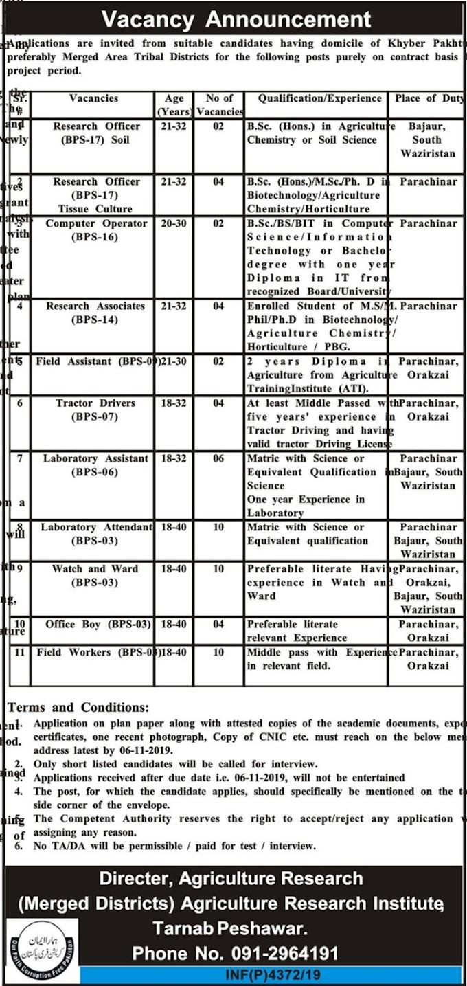Agriculture Department Govt Of KPK Jobs 2019 (258 Posts)