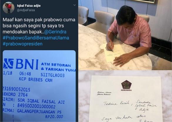 Terharu Dapat Sumbangan Rp20 Ribu dari Pendukung, Prabowo Tulis Pesan Ini