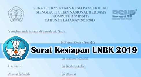 Contoh Surat Pernyataan Kesiapan UNBK 2019 Kemdikbud