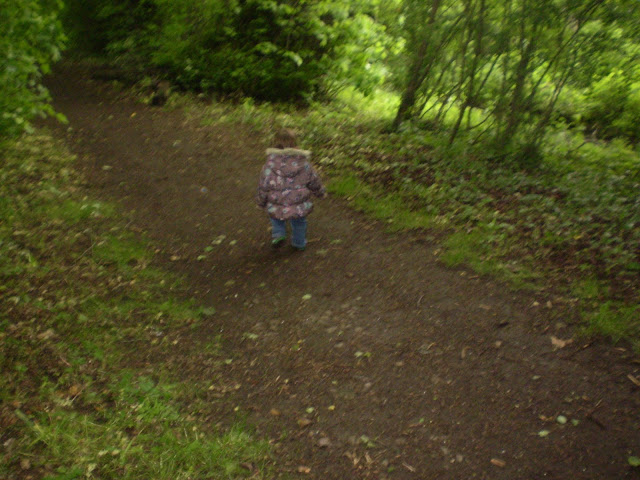 Eldest on a stroll along a path