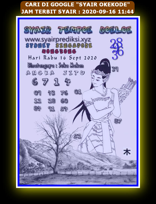 Kode syair Hongkong Rabu 16 September 2020 287
