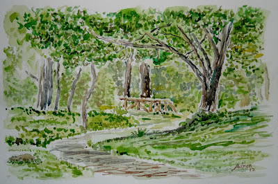 A watercolor of a path in the woods.