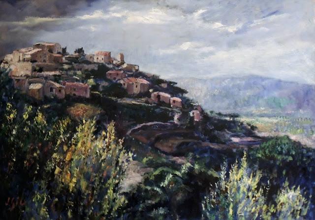 Juan Gil pintura al óleo paisaje vista del pueblo