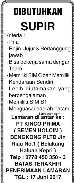 Lowongan Kerja PT. Kinco Prima (Semen Holcim)