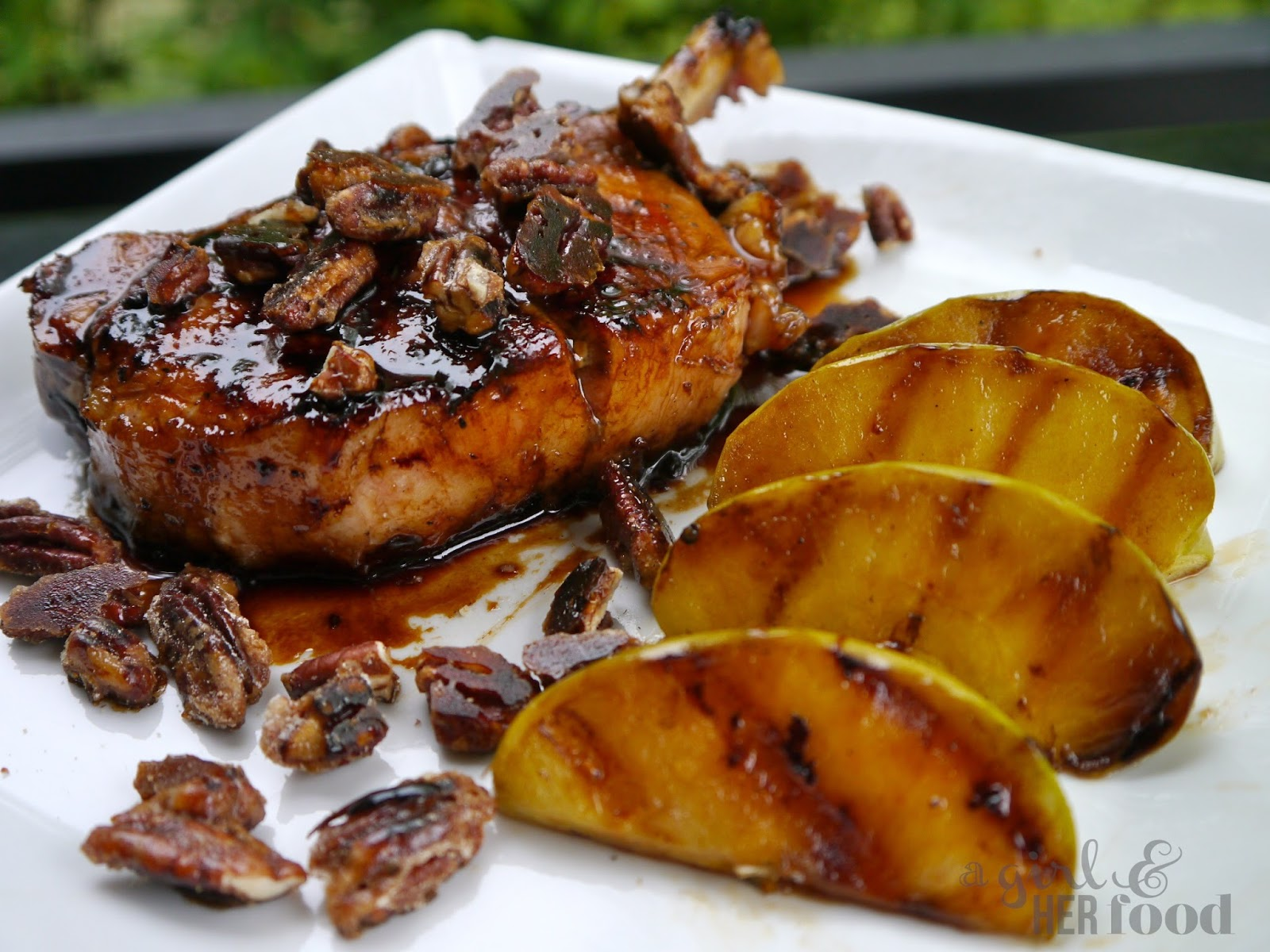 A Girl & Her Food: Maple Glazed Pork Chops, Pecans & Green ...