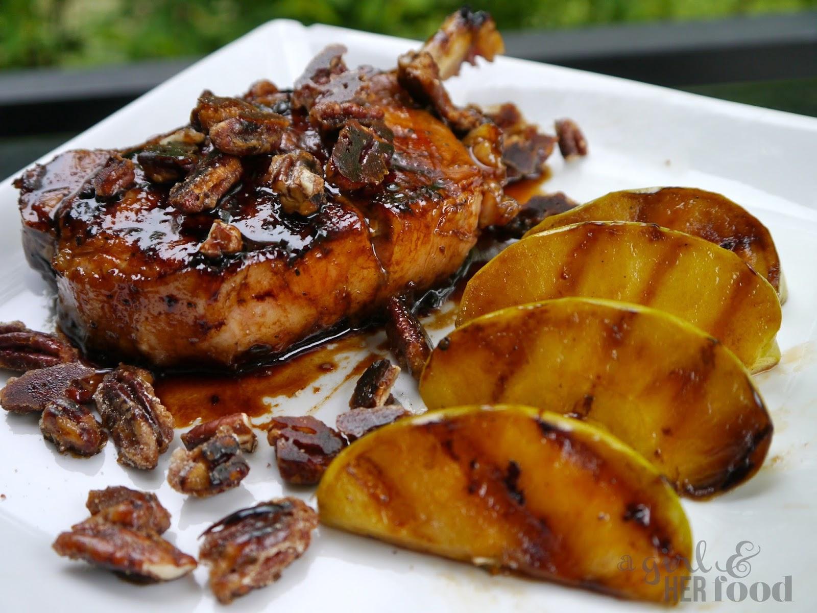 Girl & Her Food: Maple Glazed Pork Chops, Pecans & Green Apples