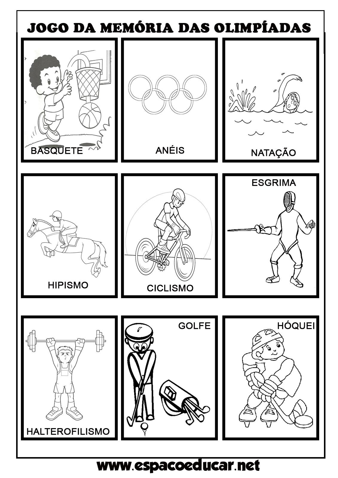 Well-known ESPAÇO EDUCAR: Atividade lúdica: jogo da memória das Olimpíadas  JM52