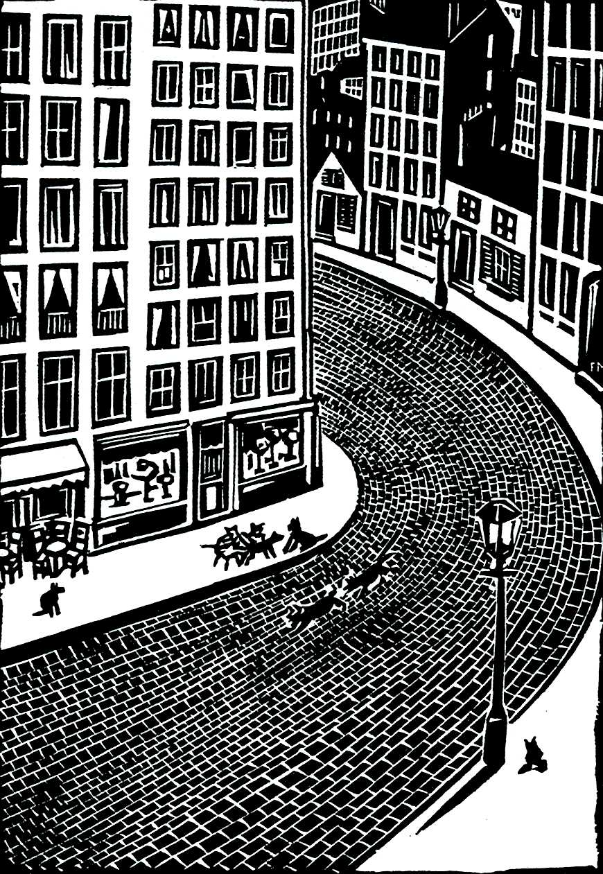 Frans Masereel art, dogs running in the street