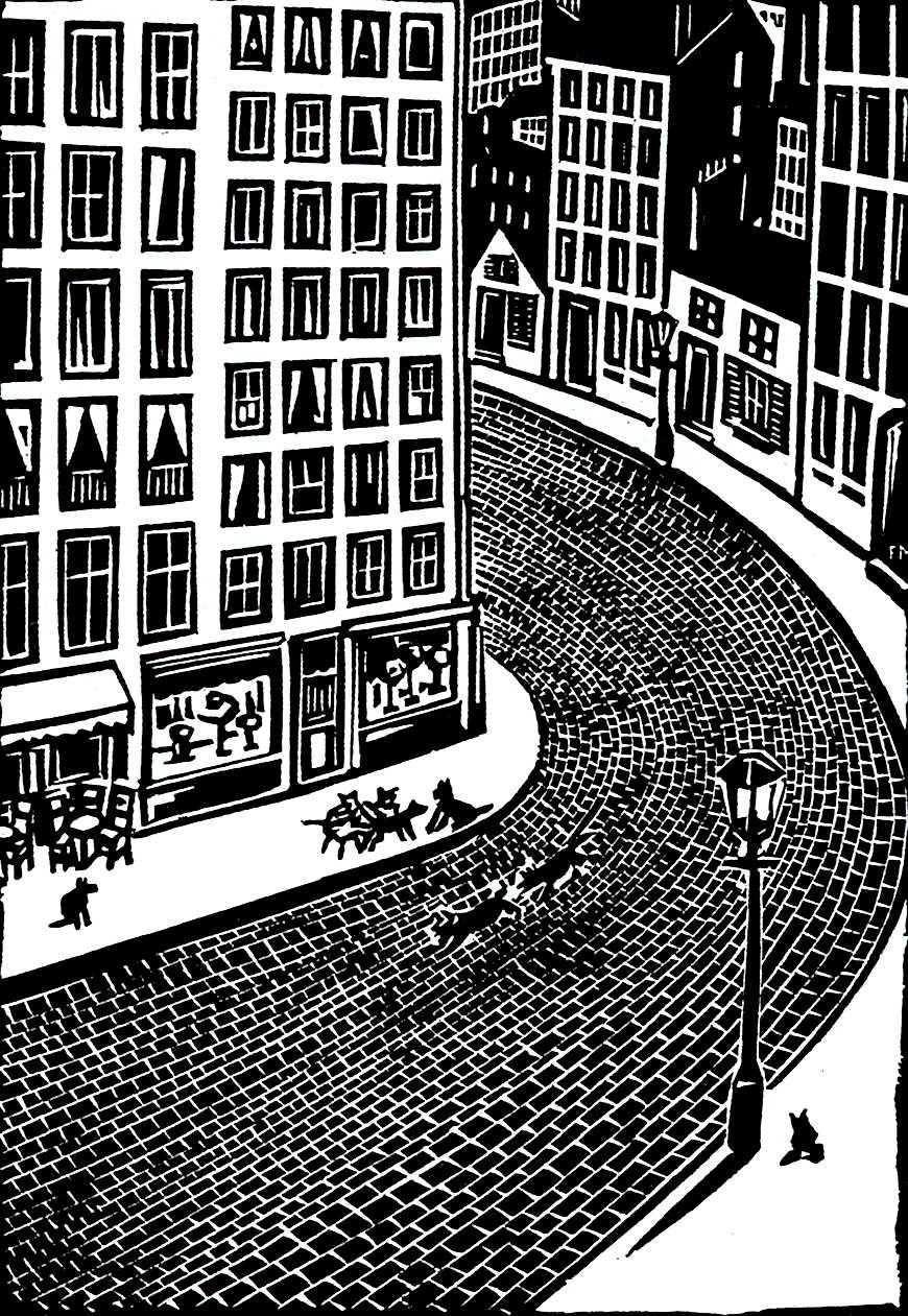 Frans Masereel art, dogs running in the street