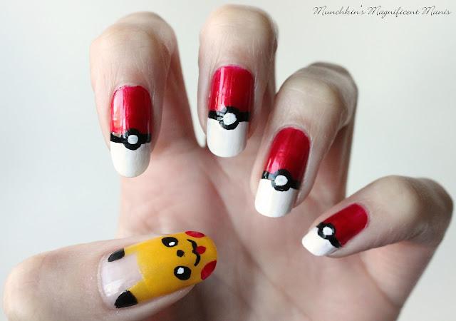 Pokemon, Pikachu/ Poke ball nail design