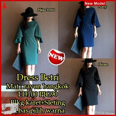FHGS9041 Model Dress Betri Hitam, Rayon Dress Perempuan Bangkok BMG