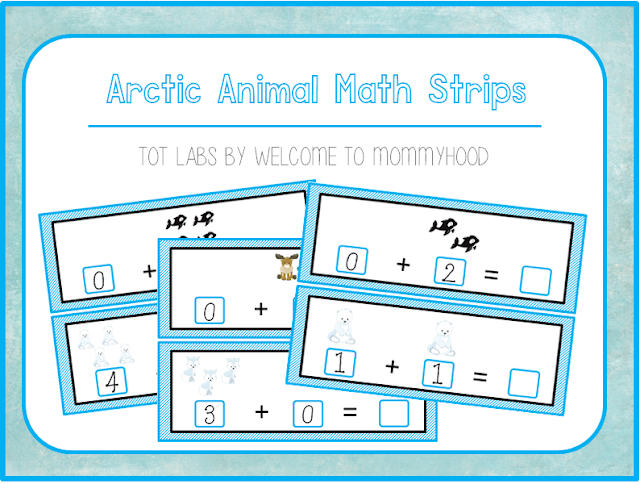 Arctic animal themed addition strips by Welcome to Mommyhood #addition #winteractivities #kindergartenactivities