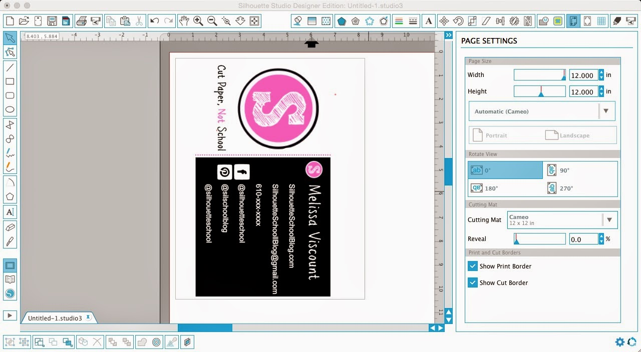 Designing business cards in silhouette studio silhouette school silhouette studio design business cards diy do it yourself page settings reheart Choice Image