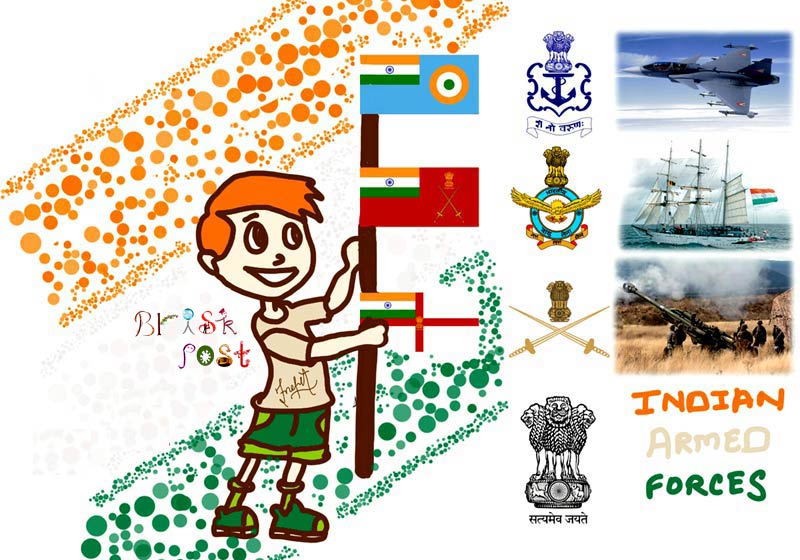 Indian Armed Forces or Military Forces (Logo, emblem and flags): Indian Army, Indian Navy, Indian Air Force