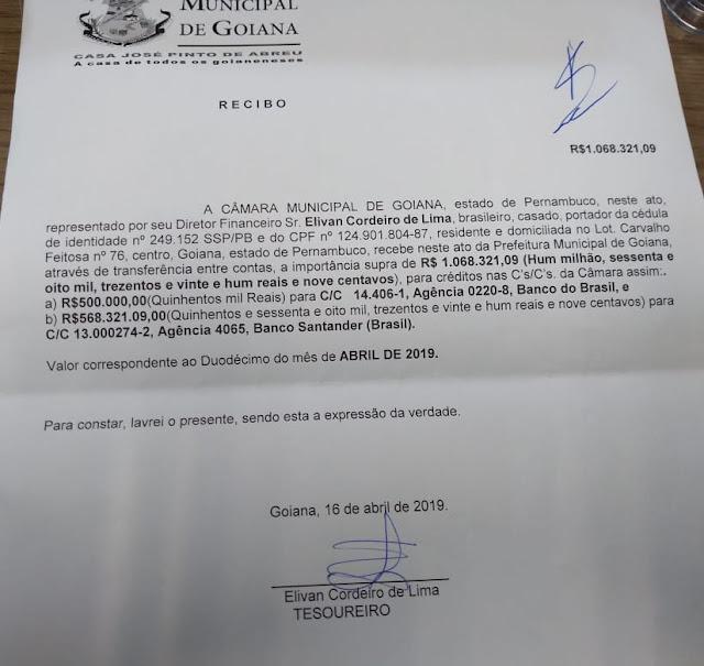 Prefeitura de Goiana repassou duodécimo para Câmara de Vereadores