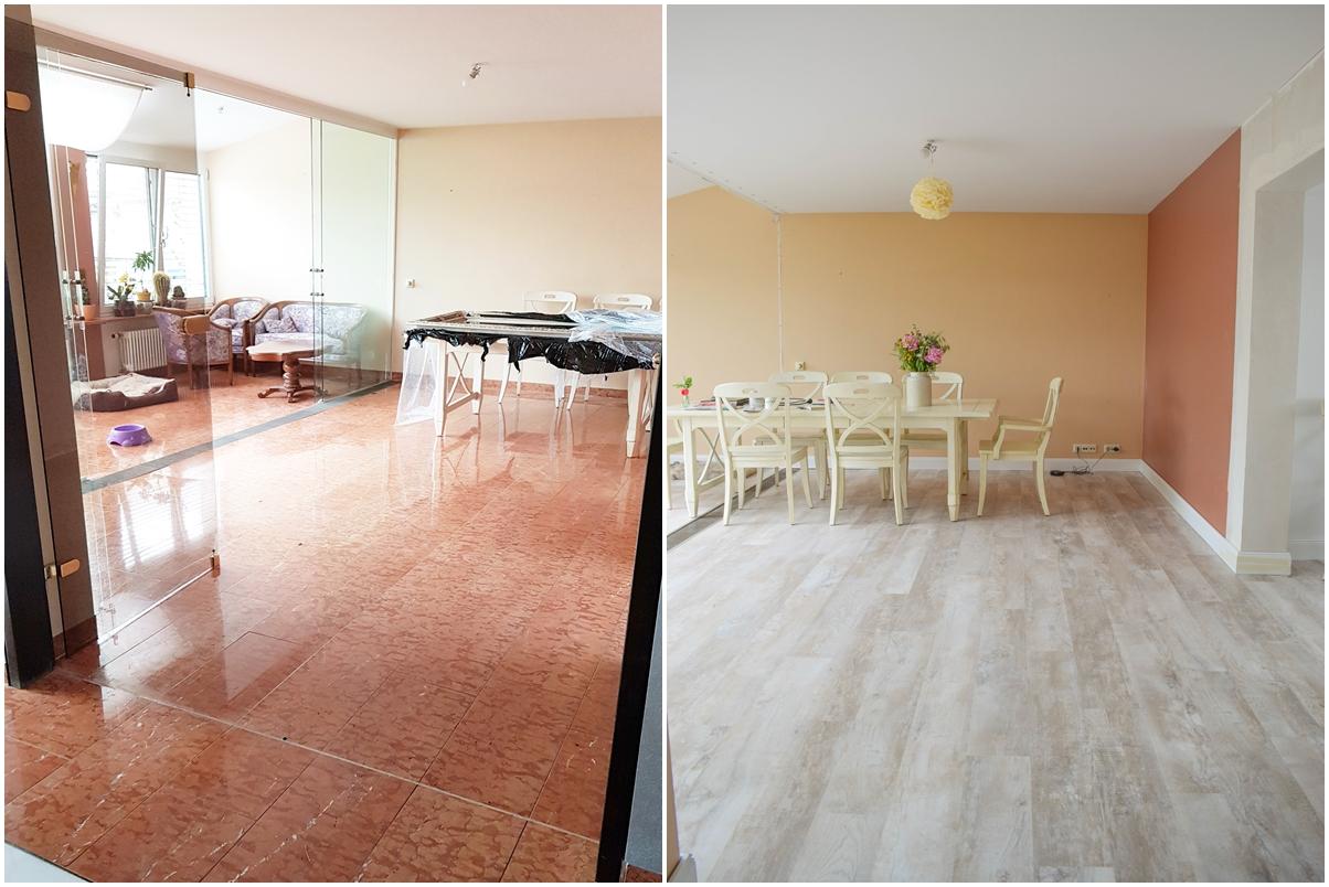 Renovierung Umbau Wohnung Haus neuer Boden Esszimmer vorher nachher