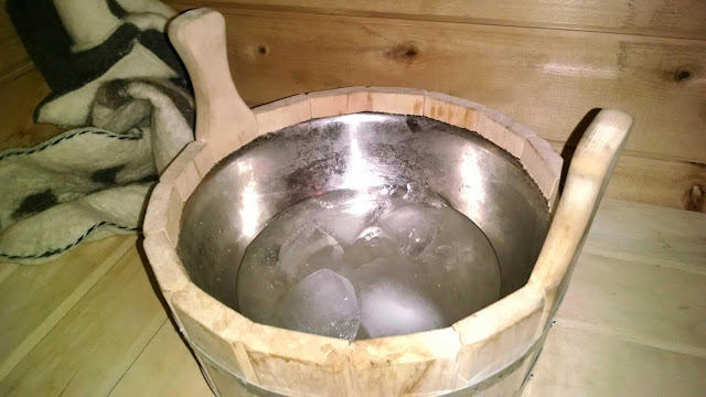 Use ice cubes to throw on the sauna stove for slow steam release.