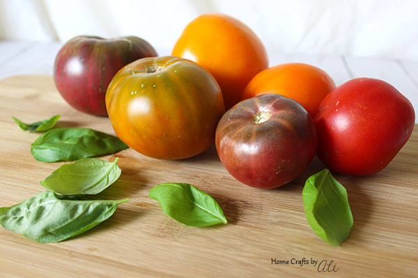Ripe tomatoes and fresh basil for Tomato Pie