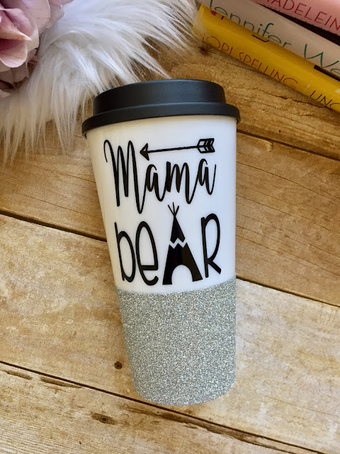 Mama Bear Glitter Dipped Travel Mug