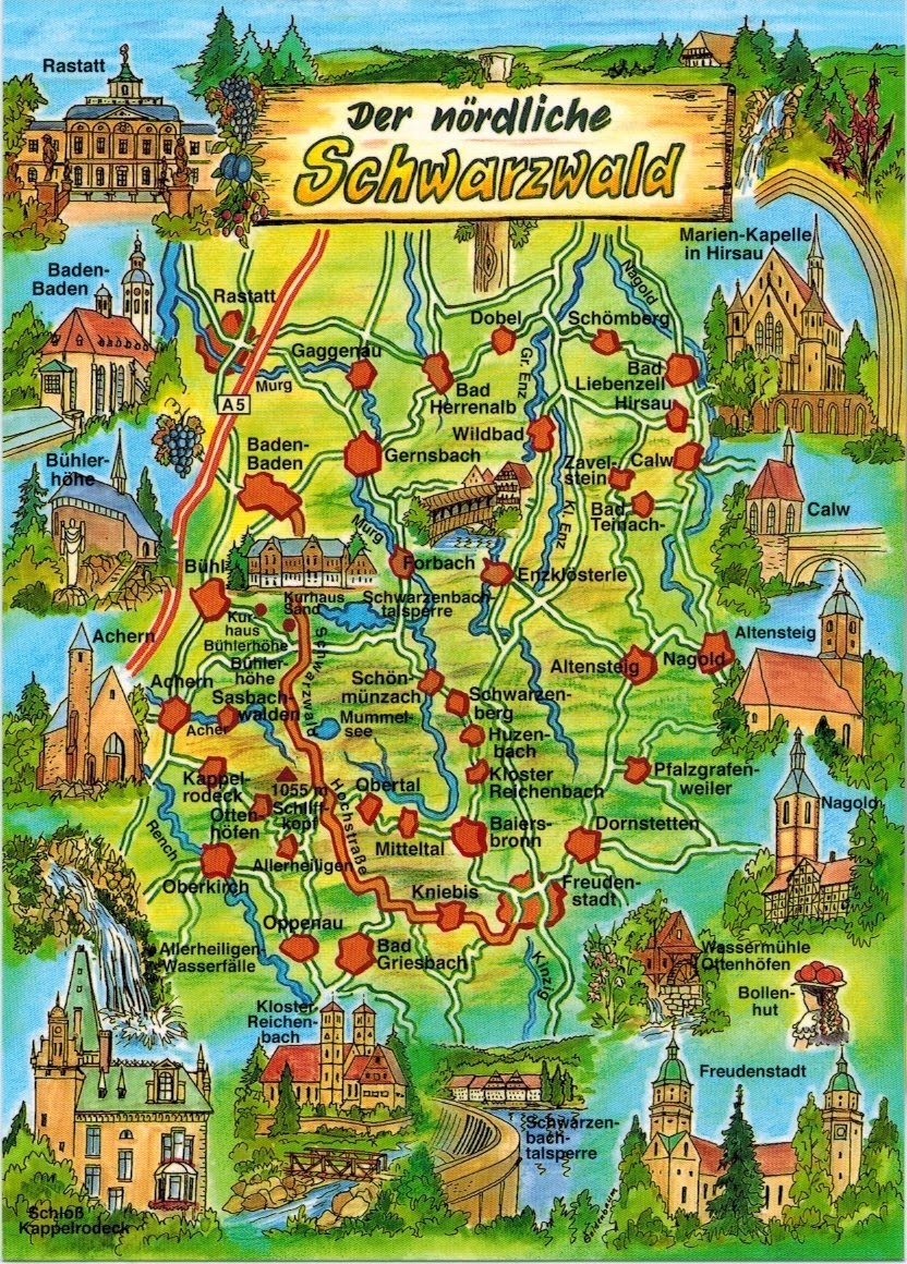 Map Of Germany Mountains.Map Cards Hunting 0263 Germany The Northen Black Forest