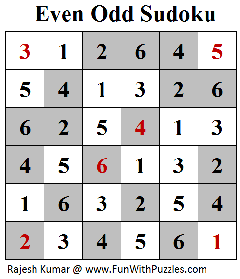 Even Odd Sudoku (Mini Sudoku Series #96) Soluton