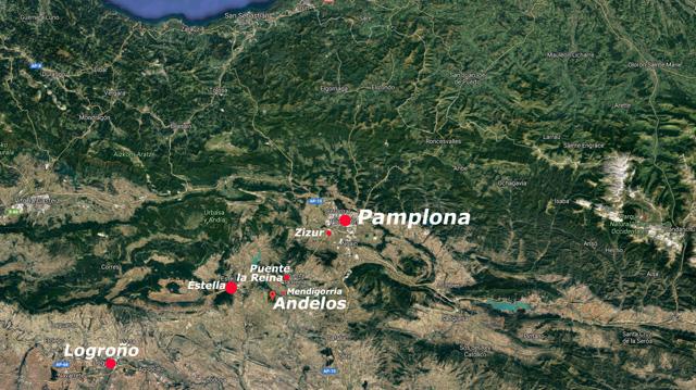 Situación de la villa romana de Andelos