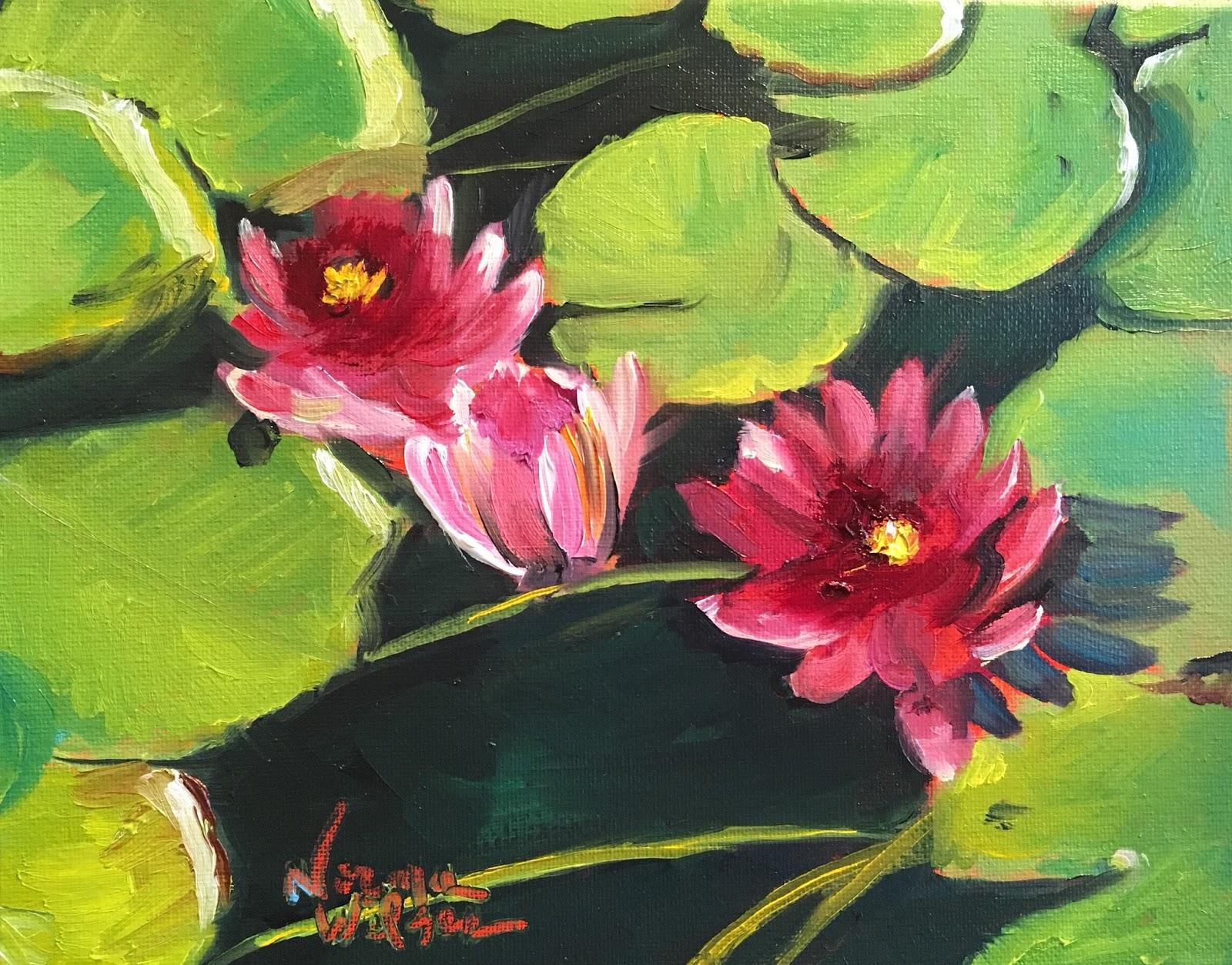 Norma wilson art norma wilson original oil sacred lotus floral norma wilson original oil sacred lotus floral flower garden lily pad painting art izmirmasajfo