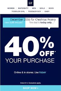 free Gap coupons december 2016