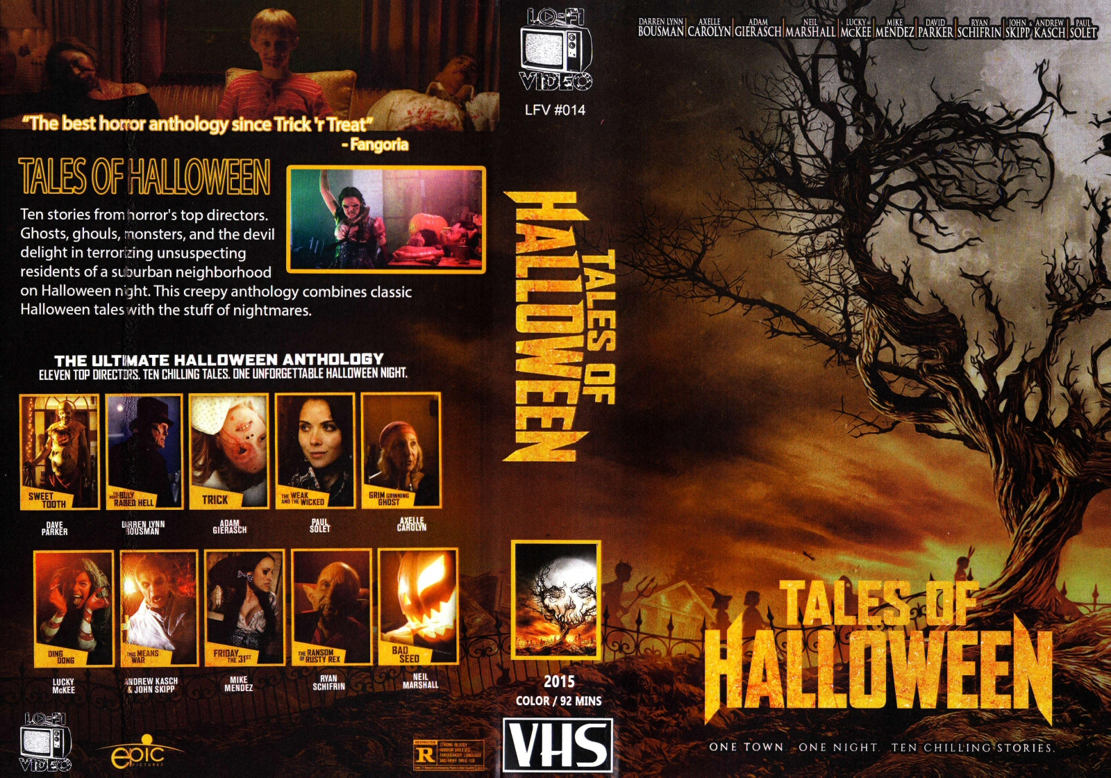 2020 Vhs Halloween The Horrors of Halloween: TALES OF HALLOWEEN (2015) Sales Sheet