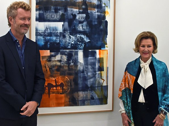 "Queen Sonja and Magne Furuholmen opened ""Texture"" exhibition at Galerie MøllerWitt in Aarhus, Denmark"