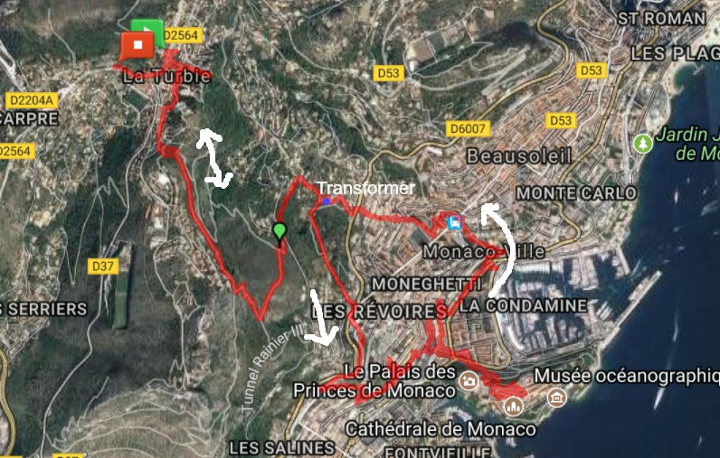 Our La Turbie to Monaco trail
