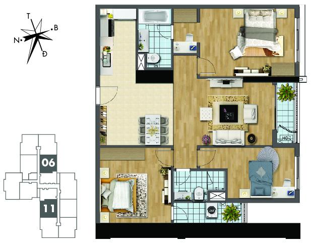 Mặt bằng căn hộ 06 và 11 tòa Sapphire2