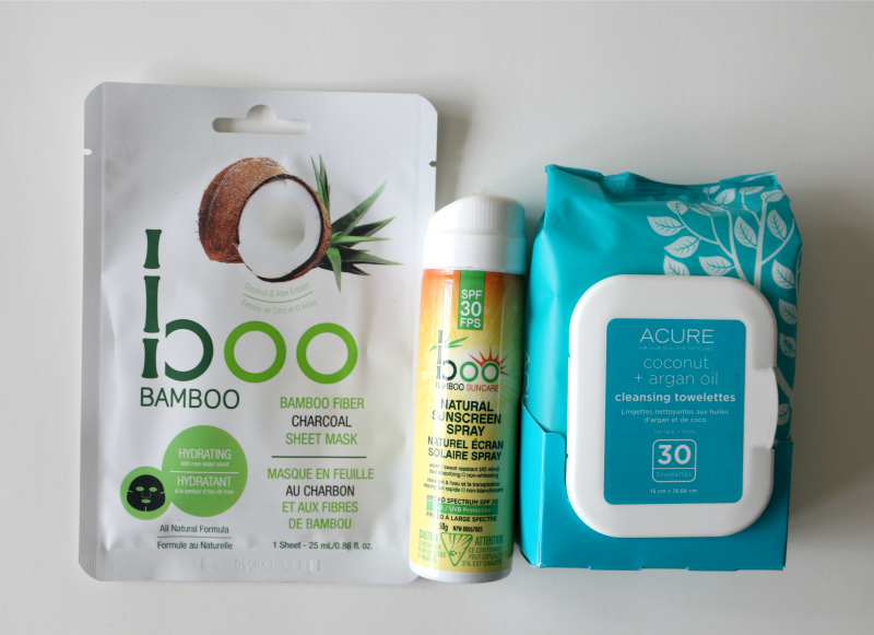 Boo Bamboo Fiber Charcoal Sheet Mask Boo Bamboo Natural Sunscreen Spray SPF 30 Acure Coconut + Argan Oil Cleansing Towelettes