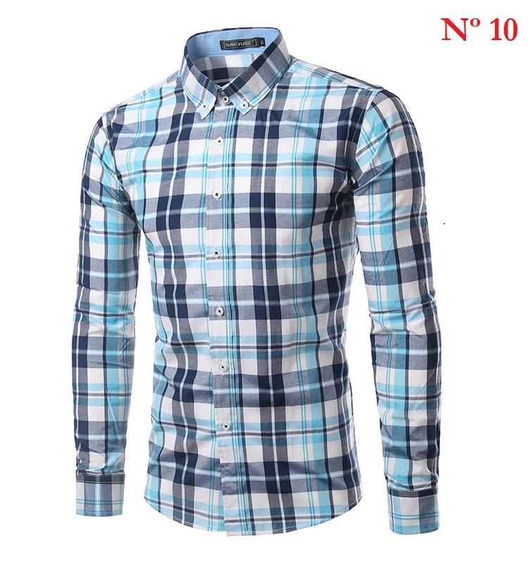 camisa xadrez masculino manga longa moda 2017