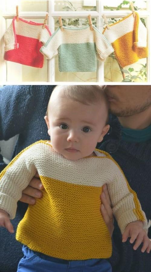 Easy Macaron Baby Sweater - Free Pattern