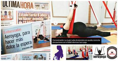 Entrevista  Diario ULTIMA HORA , AEROYOGA® Y EMBARAZO con la obstetra Marta Cabrera, psicóloga clínica, es profesora certificada AeroYoga® AeroPilates® en Paraguay
