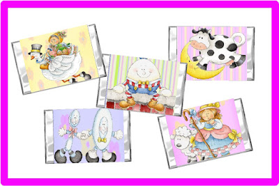 Add a little sweetness to your baby shower with these Nursery Rhyme mini candy bar wrappers. You'll find Little Bo Peep, the Cow jumping over the Moon, the Dish running away with the Spoon, Humpty Dumpty, and Old Mother Goose.