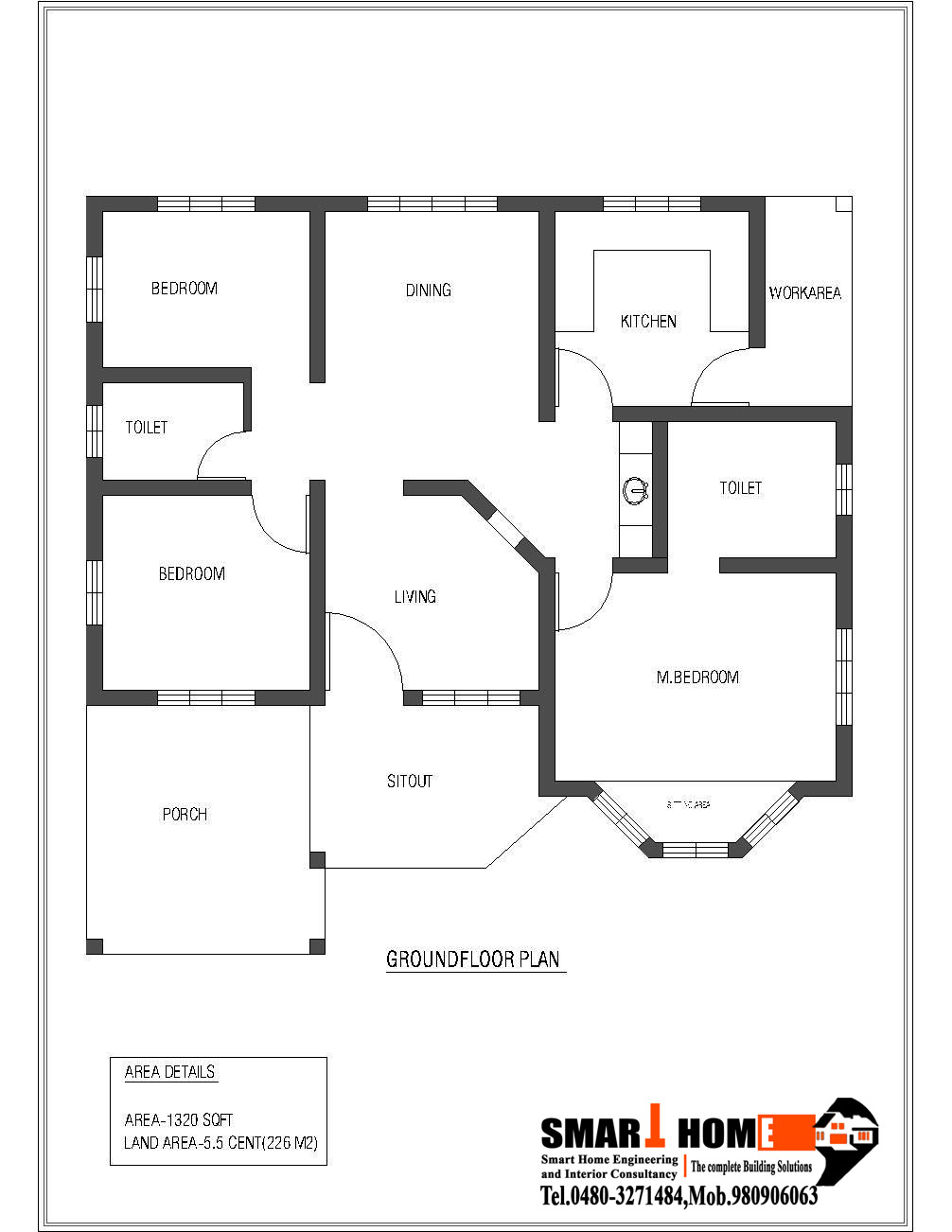 1320%2BSqft%2BKerala%2Bstyle%2B3%2BBedroom%2BHouse%2BPlan%2Bfrom%2BSmart%2Bhome%2BGF%2BPLAN single family home plans designs home plan,Single Family Home Plans Designs
