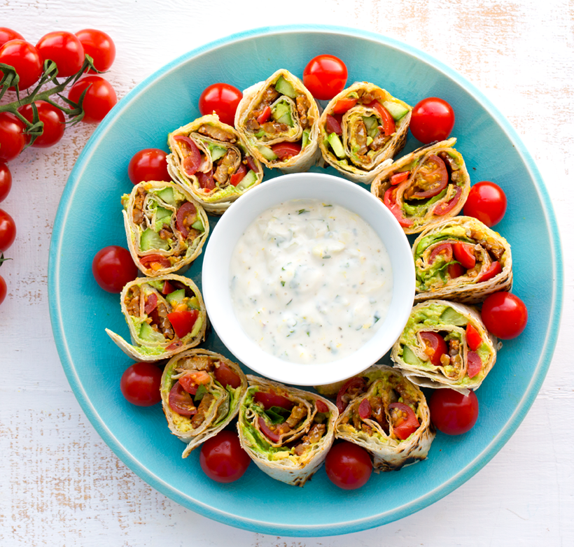 Vegan BLT Wraps with Ranch Dip