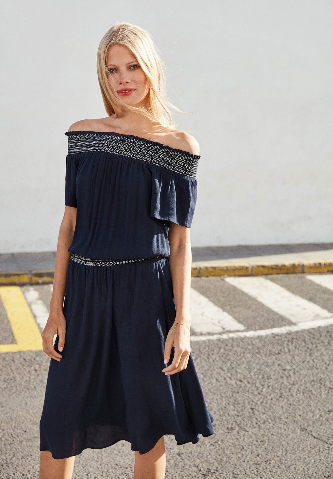 hush shirred off shoulder dress