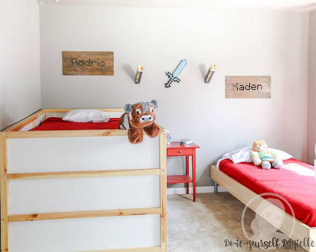 Cool Minecraft themed bedroom for boys to share