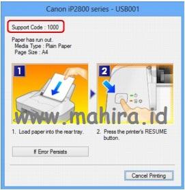 Kode Error Canon IP2870