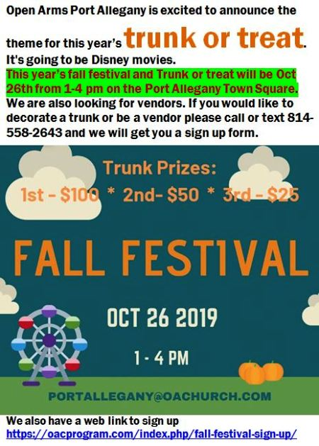 10-26 Trunk or Treat, Town Square, Port Allegany