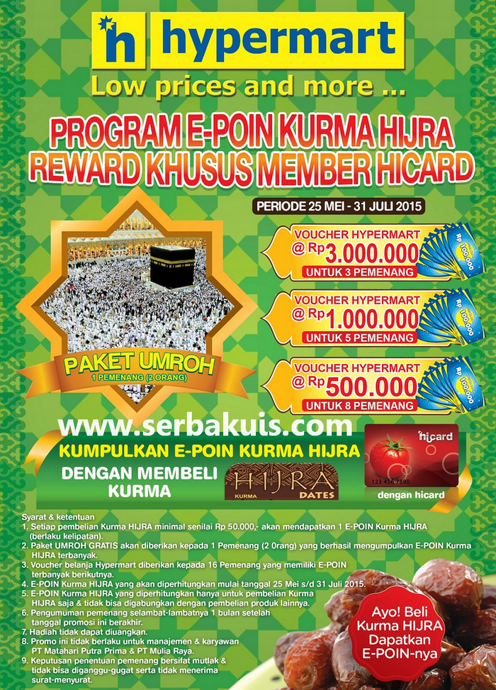 Reward Point Kurma Hijra Hypermart Hadiah 2 Paket Umroh