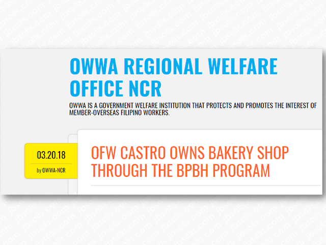 A former overseas Filipino worker (OFW) who was sent home from Jeddah, Mr. Castro availed of the Balik Pinas! Balik Hanapbuhay Program, a program aiming to provide OWWA members, active or non-active, financial assistance as immediate relief to returning displaced OFWs due to war, political conflicts, policy reform controls, or changes by the host government. Victims of illegal recruitment, human trafficking, and other distressful situations are also given assistance under the program.  Advertisement       Sponsored Links       Mr. Fernando Castro, a beneficiary of the Balik Pinas! Balik Hanapbuhay! Program visited the Overseas Workers Welfare Administration Regional Welfare Office – National Capital Region (OWWA RWO – NCR) to show with pride his new business and express his gratitude to OWWA for the opportunity to engage in a small business last 22 December 2017.  Formerly an OFW who worked in Riyadh, Kingdom of Saudi Arabia, Mr. Castro was one of many workers who were sent home because his company is one of the companies that suffered financial losses severely due to prevailing economic condition in the Kingdom of Saudi Arabia (KSA). The closing of his company left him without his daily earnings for many months. He was also among those OFWs who sought assistance from the Department of Foreign Affairs (DFA), Philippine Overseas Labor Office (POLO) and OWWA for settlement of their unpaid salaries. Since he could no longer wait for the settlement of his unpaid wages and other benefits, he decided to be repatriated to the Philippines.  In October 2017, the program was improved by increasing the amount of financial assistance from P10,000 to P20,000 to ensure that the cash assistance is sufficient as a start-up capital for livelihood projects of beneficiaries. It also gives them the responsibility to use the cash assistance in purchasing the required goods, equipment and other implements for the type of business they would like to engage in.        Read More:  Former OFW In Dubai Now Earning P25K A Week From Her Business Top Search Engines In The Philippines For Finding Jobs Abroad    5 Signs A Person Is Going To Be Poor And 5 Signs You Are Going To Be Rich    Tips On How To Handle Money For OFWs And Their Families    How Much Can Filipinos Earn 1-10 Years After Finishing College?   Former Executive Secretary Worked As a Domestic Worker In Hong Kong Due To Inadequate Salary In PH    Beware Of  Fake Online Registration System Which Collects $10 From OFWs— POEA     Is It True, Duterte Might Expand Overseas Workers Deployment Ban To Countries With Many Cases of Abuse?  Do You Agree With The Proposed Filipino Deployment Ban To Abusive Host Countries?    ©2018 THOUGHTSKOTO  www.jbsolis.com