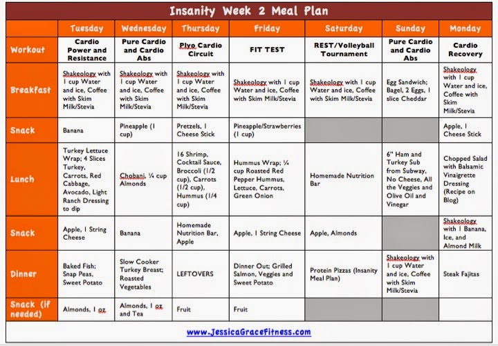 Jessica Grace Fitness: Insanity Week 2 Meal Plan