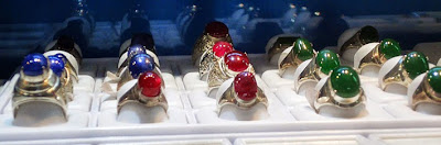 Three most popular rings with ruby sapphire and jade cabochons