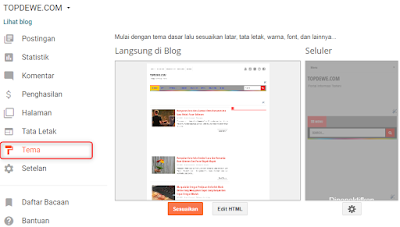 Cara ganti template blog di blogger