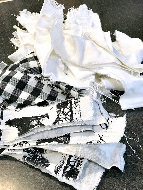 Strips of black and white fabric